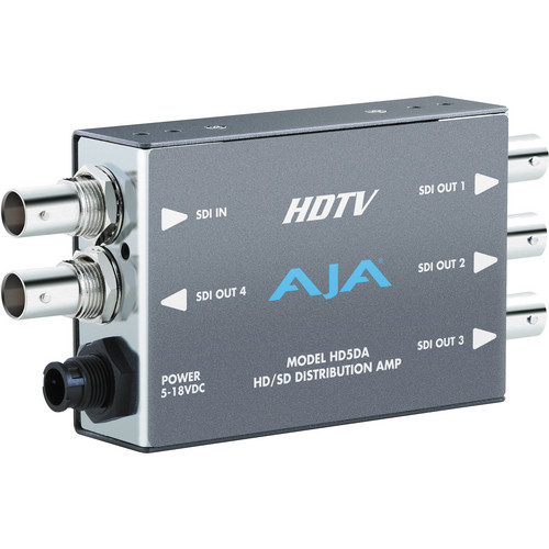 AJA HD5DA 1x4 HD/SD-SDI Distribution Amplifier / Repeater with DWP